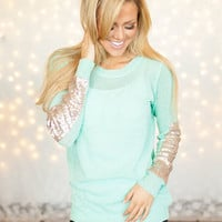 Party Sequins Patch Sweater Mint CLEARANCE
