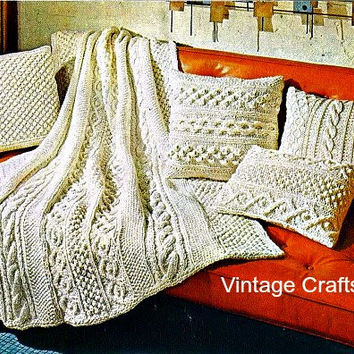 """1960s Vintage KNIT Pattern - Aran Afghan Blanket + 4 Pillows Pattern, 49"""" X 65"""" -retro blanket throw coverlet bedspead gift- Direct from USA"""