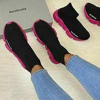 Balenciaga Sock Boots Woman Men Fashion Breathable Sneakers Running Shoes Rose red