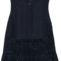 SEA - Daisy lace-paneled broderie anglaise cotton peplum top