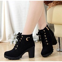 JIASHA Autumn Winter Women Solid Lace-up High Heels Boots