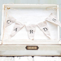 Rustic Wedding Card Box with Banner - Cottage Chic - (CB-7)