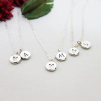 Custom Initial Letter Necklace/ Handmade Personalized Custom Initial Charm Necklace/ Heart Necklace/ Everyday Necklace