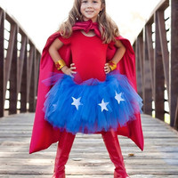 Super Hero Tutu Child Costume. Blue tutu with Stars. Red, white, blue and gold tutu set. Patriotic tutu costume.