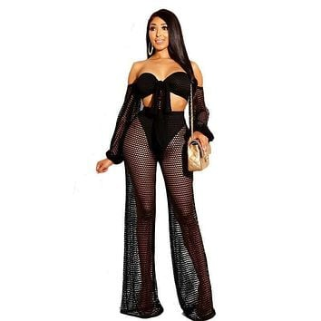 Sexy Women Off-shoulder Self Tie Cropped Top See-through Mesh Pants Two-piece Set