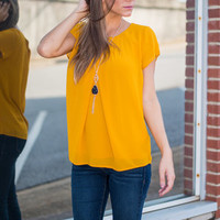 Must See You Soon Blouse, Mustard