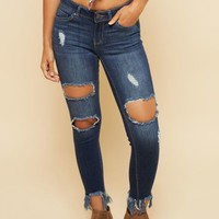 Dark Wash Distressed Frayed Ankle Booty Jeans
