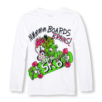 Boys Long Sleeve 'Mmmmmm Boards' Zombie Graphic Tee | The Children's Place