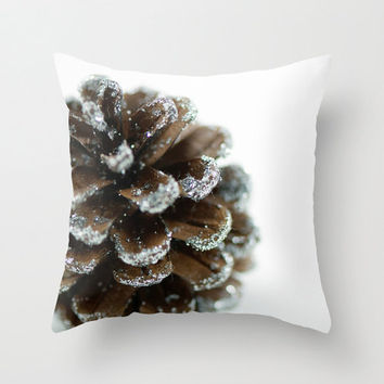 """Brown Christmas Pillow Cover 18"""" Decorative Throw Cushion Cover Holiday Pine Cone White Brown Festive Decor Handmade Cotton Zippered Cover"""