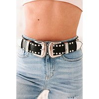 Outlaw Country Studded Double Buckle Belt (Black/Silver)