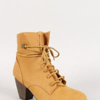 Lace Up Faux Suede Chunky Heel Ankle Bootie