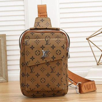Louis Vuitton LV Fashion Leather Crossbody Satchel Chest Bag