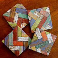 Distressed Wood Chevron Coasters, Coaster Set, Decoupaged Tile Coasters, Unique Housewarming Gift, Coworker Friend Wedding Gift, Rustic