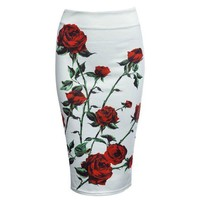 2017 New Fashion Vintage Bodycon Women Skirt High Waist Sheathy Pencil Floral Zippered Women Skirt Saias Mid Sexy Bandage Skirt