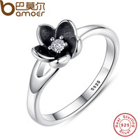 New Collection Authentic Mystic Floral Flower Stackable Ring CZ & Black Enamel 925 Sterling Silver Jewelry -0411