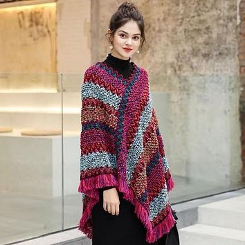 Kindred Home Women Boho Striped Poncho with Tassels Knitted Shawl Scarf Fringed Wrap Sweater Pullover Cape