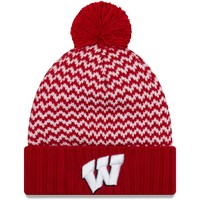 Wisconsin Badgers New Era Women's Patterned Cuffed Knit Hat with Pom - Red