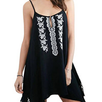 Black Tasseled Cami Peasant Dress