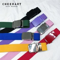 Cheerart Canvas Belts For Women Candy Color Waist Belt Fashionable Yellow/Red/Black/White/Blue Colorful Belts Punk