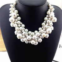 2014 fashion Luxury Vintage Necklaces & Pendants Multi Layer pearl Necklace Choker Statement Necklace For Women Free Shipping
