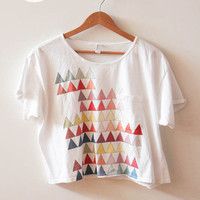 SOLD - Geometric Triangle Cropped Pocket Tee (American Apparel) from Night of the Living Threads