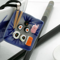 Oriental sushi lunch plate pendant with blue and white ceramic plate and fimo sushi- cute, kitsch- Great Christmas stocking filler