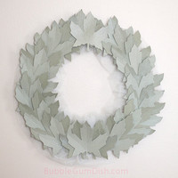 Paper Leaf Wreath Sage Silver Leaves Fall Decor Leaf Decor As Seen In Cottages and Bungalow's Magazine