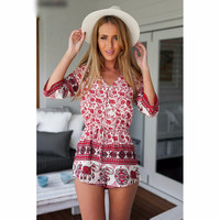 Women Summer 2016 Style Red Floral Leaves And Elephant Print V Neck Romper Playsuit Jumpsuits