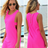 Tortuga Bay Fuchsia Side Cut Out Shift Dress