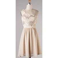 Subtle Sparkle Dress with Lace - Champagne