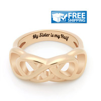 """Sister Gift - Infinity Symbol Promise Sister Ring, Engraved on Inside with """"My Sister is My Half"""", Sizes 6 to 9"""
