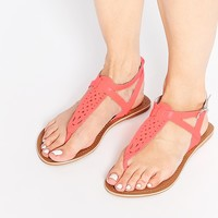 New Look Wide Fit Facet Leather Coral Thong Flat Sandals