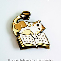 Book Pin Enamel Pin Book Enamel Pin - Bookish Pins Bookish Gifts - Book Lover Pin, Book Badge, Reading Enamel Pin, Cat Book Coffee Pin