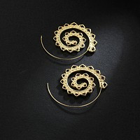 Women Geometric Swirl Hoop Earring