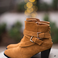 My Midona Suede Strap Buckle Boots- Camel