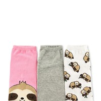 Sloth Graphic Ankle Socks - 3 Pack