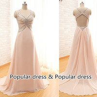 2014 New Fashion Long Prom Dress,Pale Pink Sexy Evening Dress,Pink Prom Dress,Backless Prom Dress,Mother clothing/A029