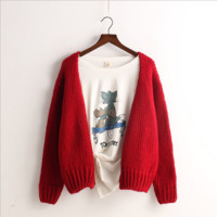 Korean Style Cardigan Knit Solid Color Loose Sweater