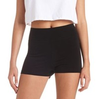 High-Waisted Cotton Spandex Shorts by Charlotte Russe - Black