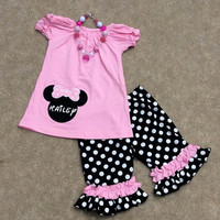 Minnie Mouse Shorts Outfit, Personalized Minnie Mouse Shirt, 1st Birthday Outfit, Pink Minnie Mouse, Polka Dot, Mouse, Disney Shirt, School