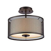 "13"" 2-Bulb Ceiling Fixture with Mesh Shade and Glass Diffuser, Bronze"
