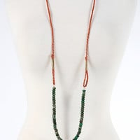 Braided Simple Strand Necklace - Green