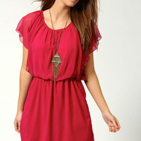 Ava Chiffon Angel Sleeve Dress