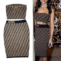 Fendi Strapless Vest Skirt Two-Piece