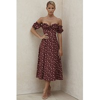 fhotwinter19 new women's sexy split floral wood ear strapless tube top dress