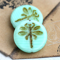 Czech Dragonfly beads - Mint Green Picasso - czech glass, large, round, tablet shape, rustic - 23mm - 2Pc - 1432