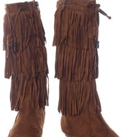Westward Bound Faux Suede Three Tier Fringe Boots - Camel