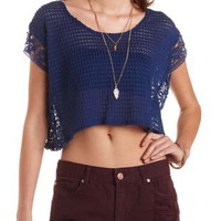 Navy Blue Crochet-Trim Open Knit Poncho Top by Charlotte Russe