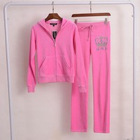 Juicy Couture Crown Viva La Glam Velour Tracksuit 2pcs Women Suits Rose