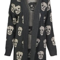 Forever Women's Skull Print Knitted Open Cardigan (XL-14/16, Charcoal)